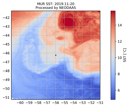 Sea Surface Temperature (SST) data from the Multiscale Ultrahigh Resolution (MUR) multi sensor product.