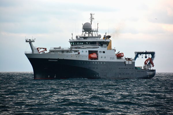 RRS Discovery Research Vessel at sea